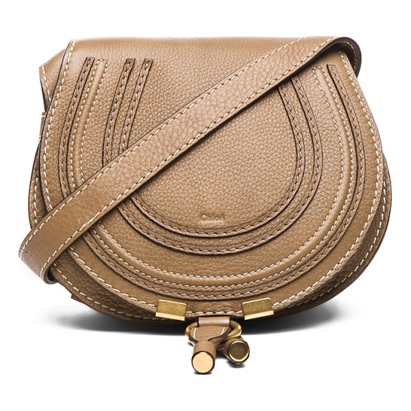 CHLOE Small Marcie Saddle Bag - Genuine calfskin leather with canvas lining and gold-tone