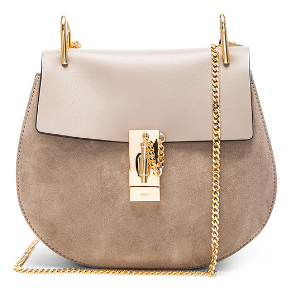 CHLOE Small Drew Suede & Calfskin Shoulder Bag - Calfskin suede with raw lining and gold-tone hardware. ...