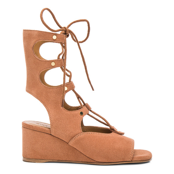 CHLOE Suede Foster Wedge Sandals - Suede upper with leather sole.  Made in Italy.  Shaft...