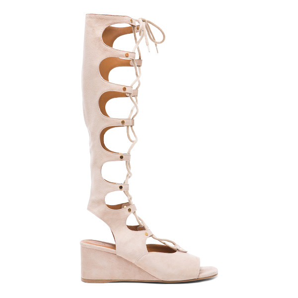 CHLOE Suede Gladiator Wedges - Suede upper with leather sole.  Made in Italy.  Shaft...