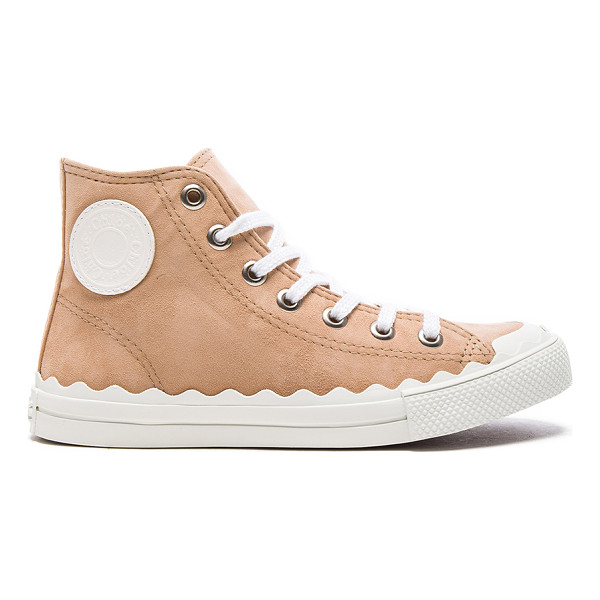 CHLOE Suede Kyle Sneakers - Suede upper with rubber sole. Made in Spain. Scalloped