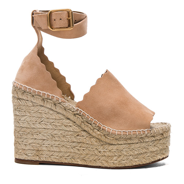 CHLOE Suede Lauren Espadrille Wedges - Suede upper with rubber sole. Made in Spain. Approx 40mm/...
