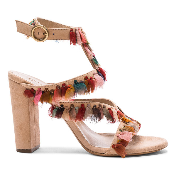 CHLOE Suede Liz Sandals - Suede upper with leather sole. Made in Italy. Approx 100mm/...
