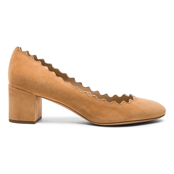 CHLOE Suede Scallop Heels - Suede upper with leather sole. Made in Italy. Approx 50mm/