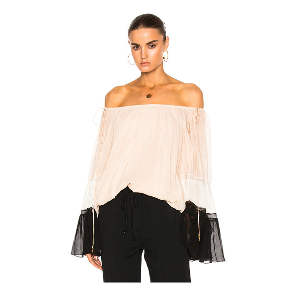 CHLOE Textured Silk Crepon Off Shoulder Blouse - Self: 100% silk - Lining: 100% poly.  Made in France.  Dry...