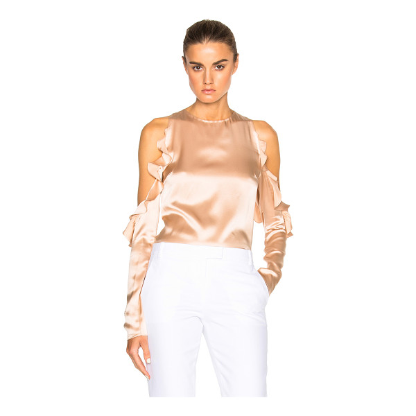 CUSHNIE ET OCHS Cut Out Shoulder Top - 100% silk. Made in USA. Cut out detail on shoulders with...