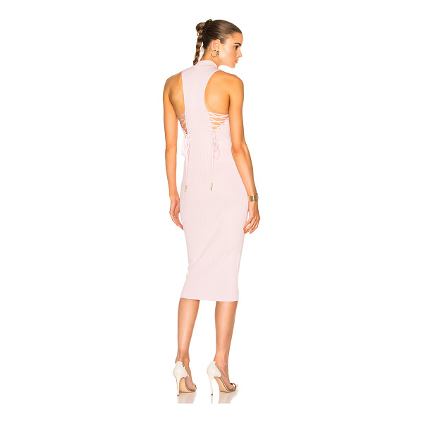 CUSHNIE ET OCHS Deep Racer Lace Up Dress - 83% viscose 17% poly.  Made in USA.  Dry clean only. ...