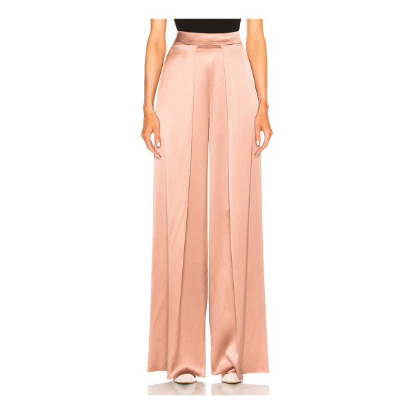 CUSHNIE ET OCHS High Waisted Wide Leg Double Charmeuse Pant - 100% silk. Made in USA. Dry clean only. Hidden back zip...