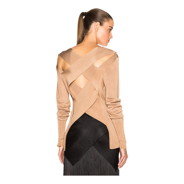 DION LEE Line ii evening bandage back knit - 90% rayon 10% nylon.  Made in China.  Knit fabric.  Bandage...