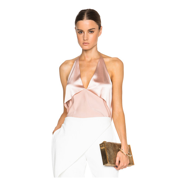 DION LEE Silk satin bias fold top - 100% silk.  Made in Australia.  Fabric overlay detail along...