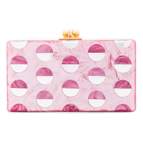EDIE PARKER Jean Double Dot Clutch - 100% hand poured acrylic hinged clutch with gold-tone