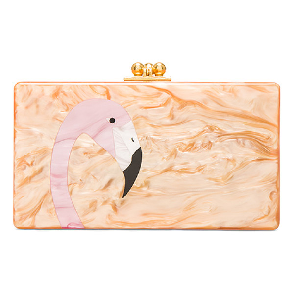 EDIE PARKER Jean Flamingo Clutch - 100% hand poured acrylic hinged clutch with gold-tone
