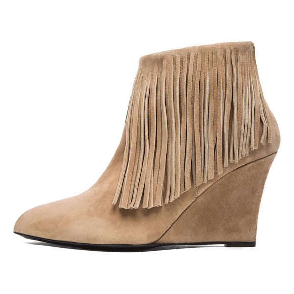 ELYSE WALKER LOS ANGELES Suede fringe booties - Suede upper with leather sole.  Made in Spain.  Approx...