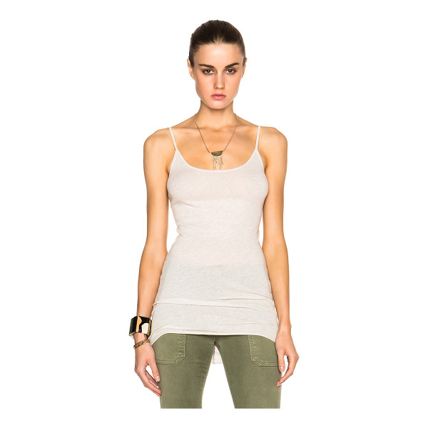 ENZA COSTA Cashmere layer tank top - 85% cotton 15% cashmere.  Made in USA.  Raw cut hem.