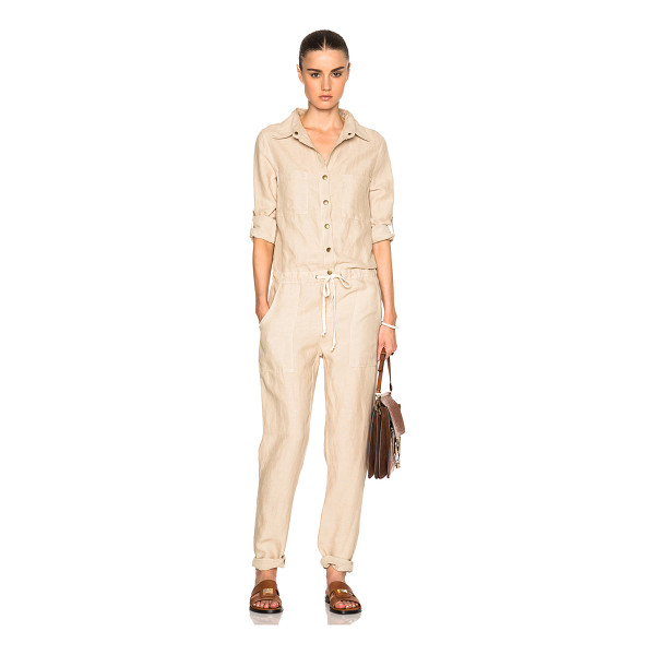 ENZA COSTA Long Sleeve Jumpsuit - 56% tencel 44% linen.  Made in USA.  Button front closures....
