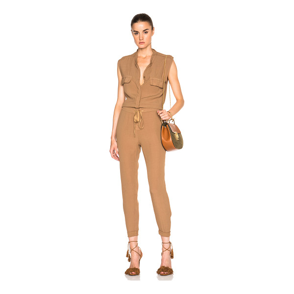 ENZA COSTA Sleeveless jumpsuit - 100% rayon.  Made in USA.  Hidden button front closures. ...