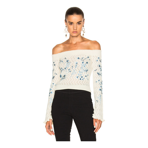 ERDEM Bella Embellished Lace Knit Off The Shoulder Sweater - 98% cotton 2% polyamide. Made in Italy. Dry clean only....