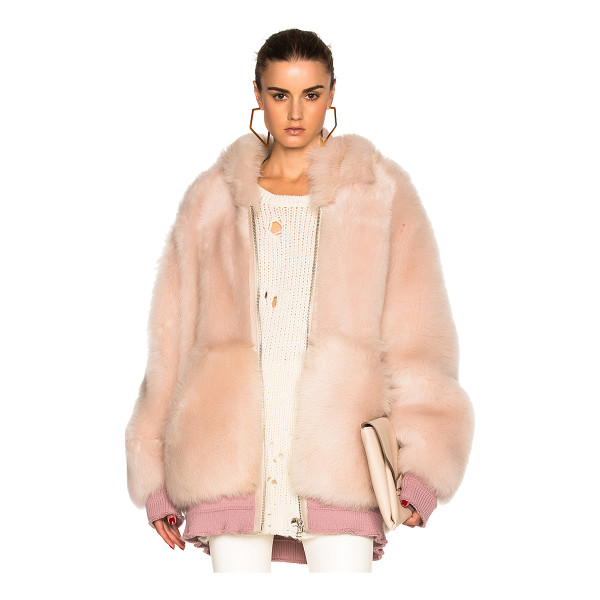 FAITH CONNEXION Reversible lamb fur oversized jacket - Self: 100% real dyed lamb fur - Rib: 88% cotton 10%...