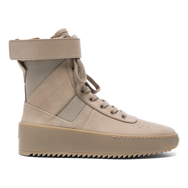 FEAR OF GOD Nubuck Leather Military Sneakers - Nubuck leather upper with rubber sole. Made in Italy. Shaft...