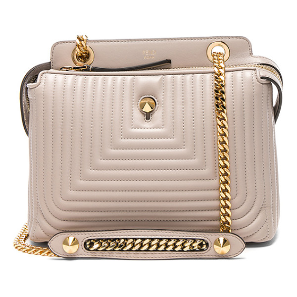 FENDI Dot Com Click - Quilted nappa leather with suede lining and gold-tone...