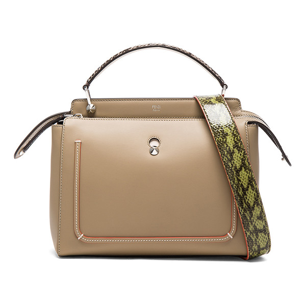 FENDI Elaphe Handle Bag - Calfskin leather with suede lining and silver-tone...
