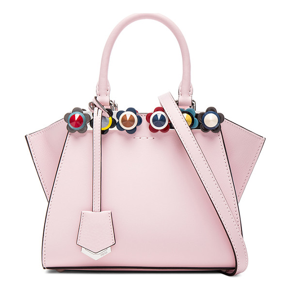 FENDI Floral Studded 3Jours Mini - Calfskin leather with pink leather lining and silver-tone...