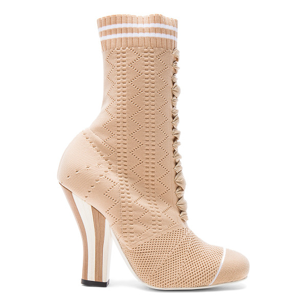 FENDI Knit Booties - Knit fabric upper with leather sole. Made in Italy. Shaft