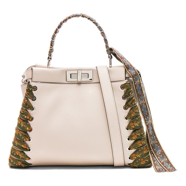 FENDI Ribbon Embellished Regular Peekaboo - Calfskin leather with leather lining and silver-tone