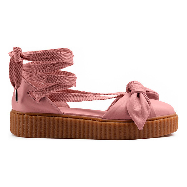 """FENTY PUMA BY RIHANNA Bow Leather Creeper Sandals - """"Leather upper with rubber sole.  Made in Romania.  Approx..."""