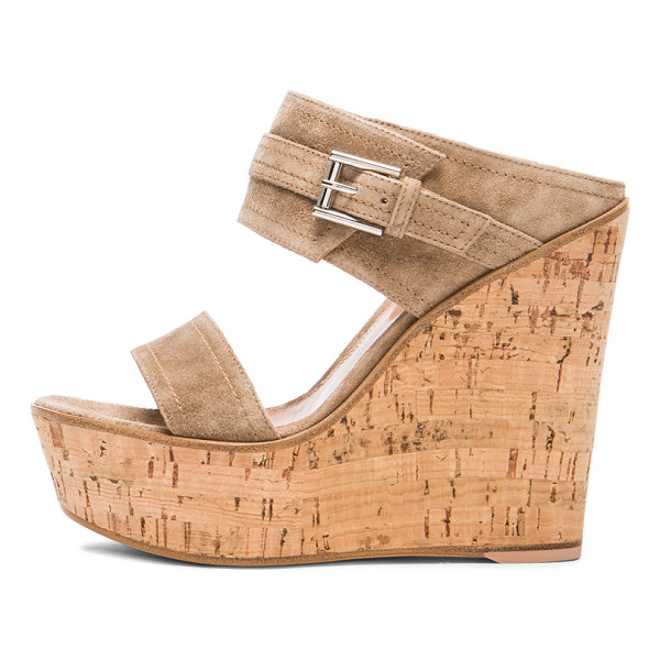GIANVITO ROSSI Buckled wedges - Suede upper with leather sole.  Made in Italy.  Approx...