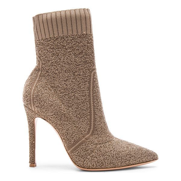 GIANVITO ROSSI Knit Boucle Katie Ankle Booties - Knit textile upper with leather sole.  Made in Italy. ...