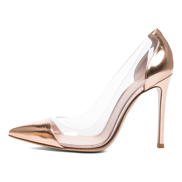 GIANVITO ROSSI Leather & plexy pumps - Metallic leather upper with leather sole.  Made in Italy. ...
