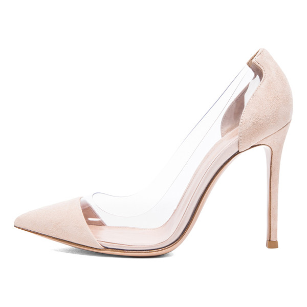 GIANVITO ROSSI Suede plexi pumps - Suede upper with leather sole.  Made in Italy.  Approx...