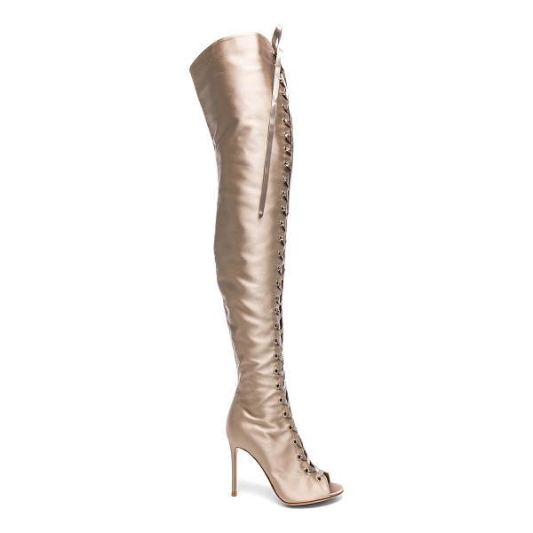 GIANVITO ROSSI Satin Marie Lace Up Boots - Satin upper with leather sole.  Made in Italy.  Shaft