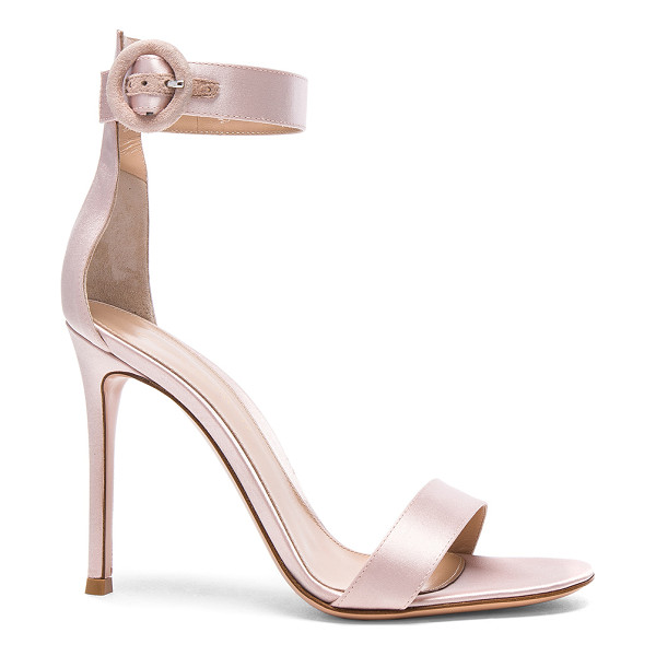 GIANVITO ROSSI Satin Portofino Heels - Satin upper with leather sole. Made in Italy. Approx 100mm/...