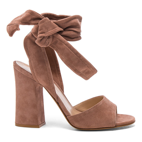 GIANVITO ROSSI Suede Ankle Tie Heels - Suede upper with leather sole.  Made in Italy.  Approx