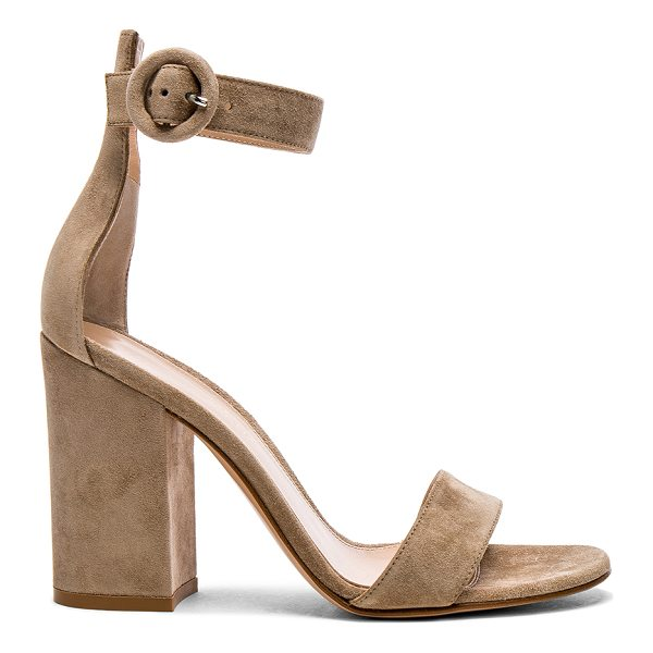 GIANVITO ROSSI Suede Versilia Block Heels - Suede upper with leather sole.  Made in Italy.  Approx...