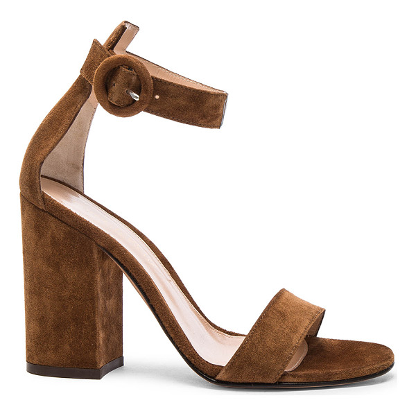 GIANVITO ROSSI Suede Versilia Block Heels - Suede upper with leather sole. Made in Italy. Approx 90mm/...