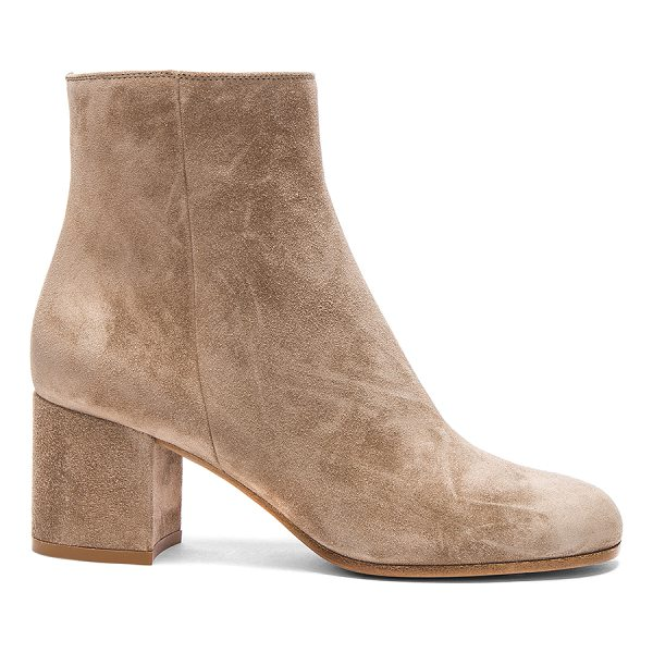GIANVITO ROSSI Suede Margaux Booties - Suede upper with leather sole. Made in Italy. Approx 65mm/