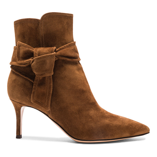 GIANVITO ROSSI Suede Bow Booties - Suede upper with leather sole.  Made in Italy.  Approx...