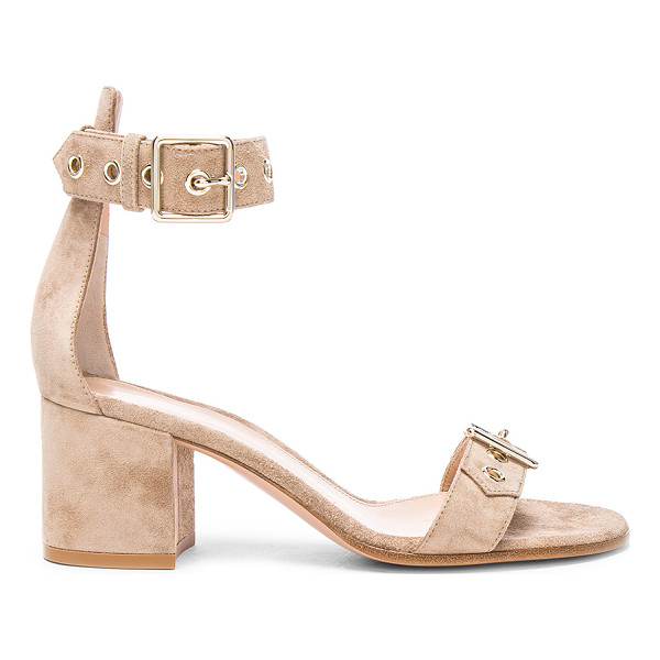 GIANVITO ROSSI Suede Buckle Detail Sandals - Suede upper with leather sole.  Made in Italy.  Approx