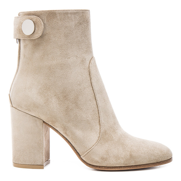 GIANVITO ROSSI Suede chunky heel boots - Suede upper with leather sole.  Made in Italy.  Shaft...