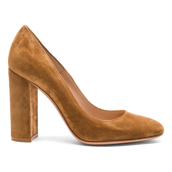 GIANVITO ROSSI Suede Chunky Heels - Suede upper with leather sole. Made in Italy. Approx 100mm/