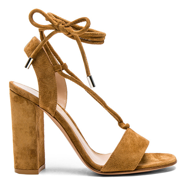 GIANVITO ROSSI Suede Lace Up Heels - Suede upper with leather sole. Made in Italy. Approx 100mm/...