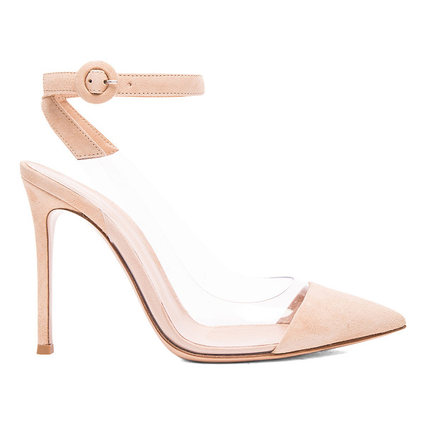 GIANVITO ROSSI Suede Plexi Slingback Pumps - Suede upper with leather sole. Made in Italy. Approx 100mm/...