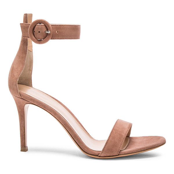 GIANVITO ROSSI Suede Portofino Heels - Suede upper with leather sole. Made in Italy. Approx 90mm/