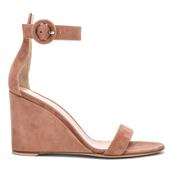 GIANVITO ROSSI Suede Portofino Wedges - Suede upper with leather sole.  Made in Italy.  Approx...