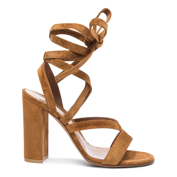 GIANVITO ROSSI Suede janis high sandals - Suede upper with leather sole.  Made in Italy.  Approx...