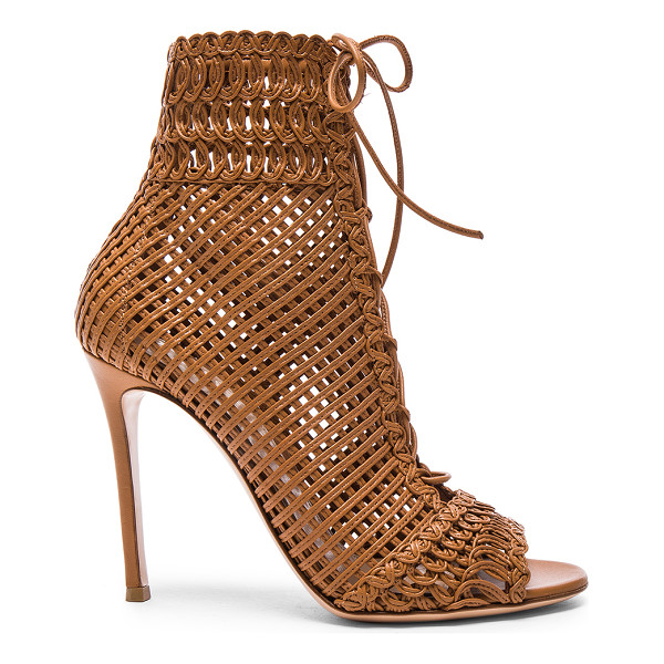 GIANVITO ROSSI Woven Leather Booties - Woven leather upper with leather sole. Made in Italy. Shaft...