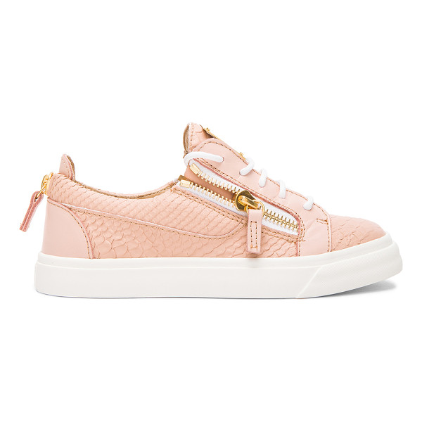 GIUSEPPE ZANOTTI Low top snakeskin embossed leather sneakers - Snakeskin embossed leather upper with rubber sole.  Made in...
